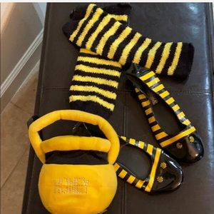 Bee costume accessories - shoes, leg warmers purse